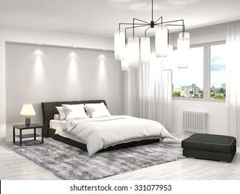 Beau Bedroom Interior. 3d Illustration