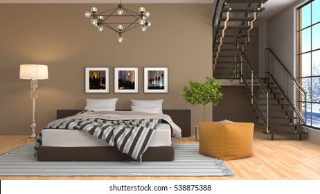 Bedroom interior. 3d illustration.