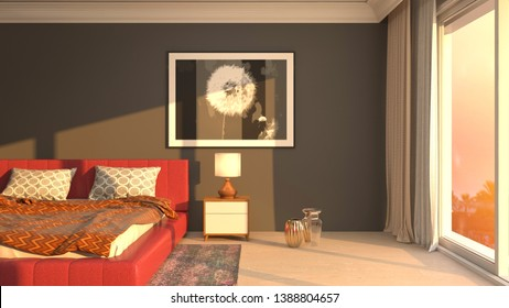 Bedroom interior. 3d illustration. Bed