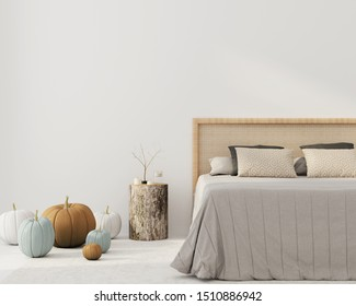 Bedroom interior with a beautiful bed with a wicker rattan headboard, a bedside table made of stump and autumn pumpkin decorations. Interior decoration for Halloween/ 3D illustration, 3d render
