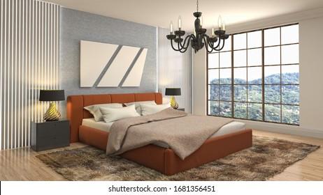 Interior de la habitación. Cama. Ilustración 3d.