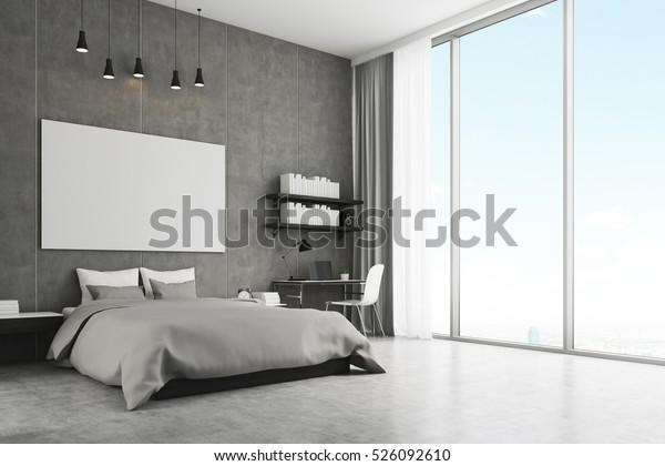 Schlafzimmereinrichtung mit Betonwänden und Fußboden und großer Panoramafenster. Über dem Bett steht ein horizontales Plakat an der Wand. 3D-Darstellung. Aufziehen