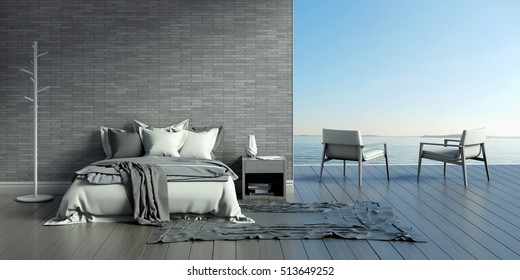 bedroom interior in a  contemporary style and sea view 3d