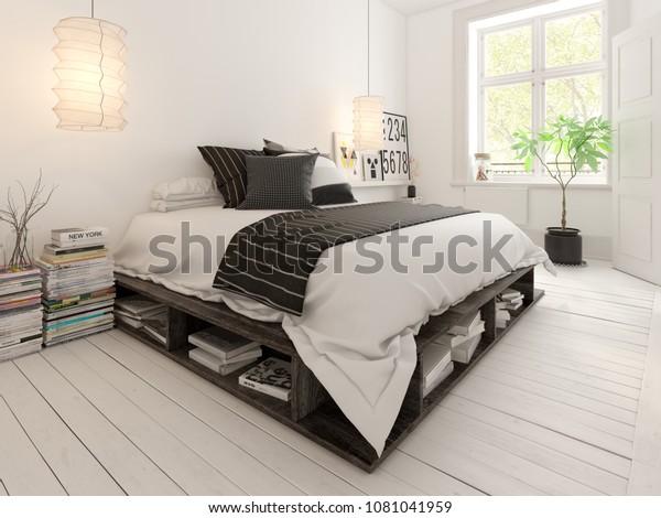 Bedroom Interior Design 3d Rendering Stock Illustration 1081041959