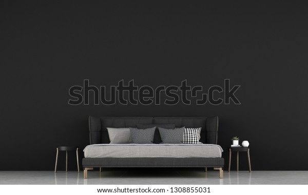 Bedroom Interior Design Idea Black Texture Stock Illustration