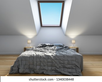 Bedroom interior design in scandinavian style with mansard window. 3D illustration.