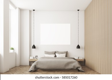 Bedroom interior with a double bed. Gray bedding and white and gray pillows. There is a horizontal poster hanging above the bed. 3D rendering. Mock up.