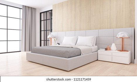 Bedroom interior dssign with Modern minimalist style.,Cozy white room and Simple Comforts, white bed on  natural wood, 3d rendering