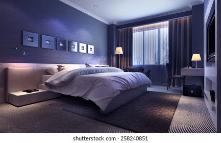 Bedroom interior, evening lighting. 3d images