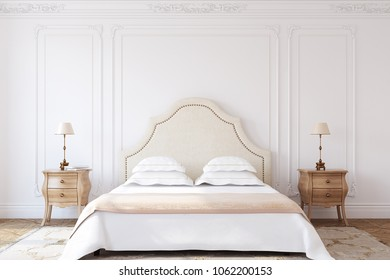 Bedroom interior in french style. 3d render.