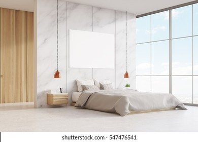 Bedroom interior with a king size bed, wooden and marble walls, panoramic window and a horizontal poster. 3d rendering. Mock up.