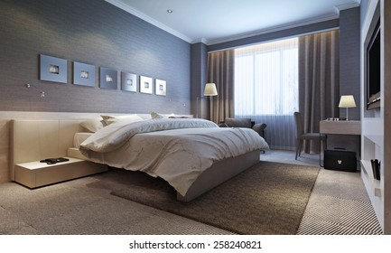 bedroom interior, modern style. 3d images