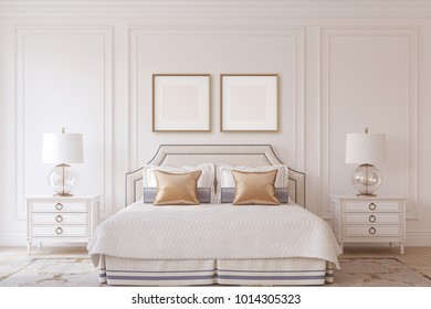 Bedroom interior in neoclassic style. Frame mock-up.3d render.