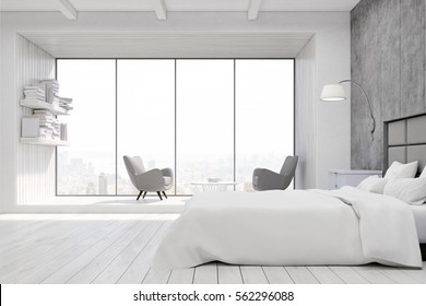 Bedroom interior with a panoramic window, two armchairs and a bookshelf near it and gray and white walls. 3d rendering.