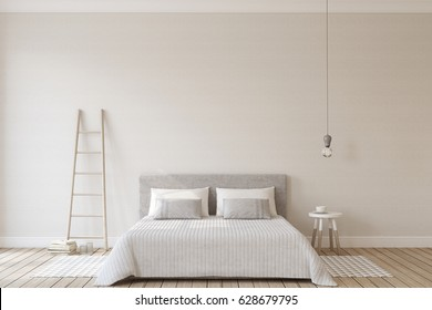 Bedroom interior in scandinavian style. Interior mock up. 3d render.