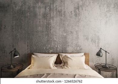 Bedroom loft interior style,Bed and side table with gray cement wall background. 3D illustration