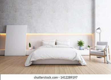 Bedroom and Modern Loft style.,Cozy room minimalist concept ,white bed with frame mockup ,wood floor and white concrete wall ,3d rendering