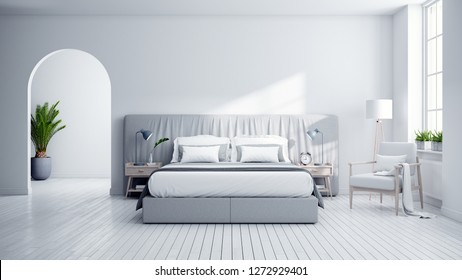 Bedroom and Modern Scandinavia style.,Cozy white and gray room minimalist concept ,3d rendering