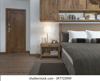 Bedroom in modern style with a bedside table. Room in brown and white colors. on the door type. 3D render.