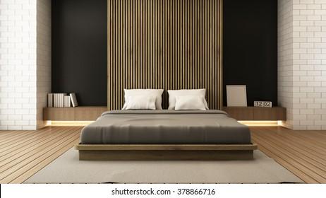 bedroom modern wood floor 3D render