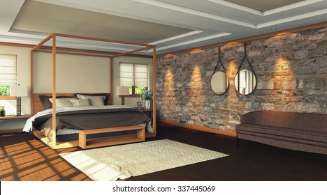 bedroom with nice bed 3d Rendering