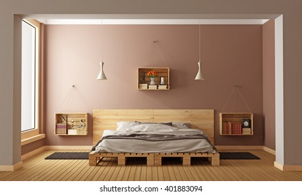 Bedroom with pallet bed and wooden crates used as nightstands - 3D Rendering