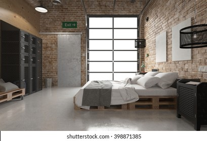 Bedroom with pallets bed - 3 D rendering using 3 D S Max