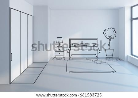 Bedroom Planning Design, 3d Rendering