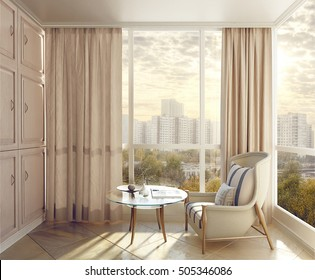 Bedroom seating area in sunlight with views of the city. 3d illustration