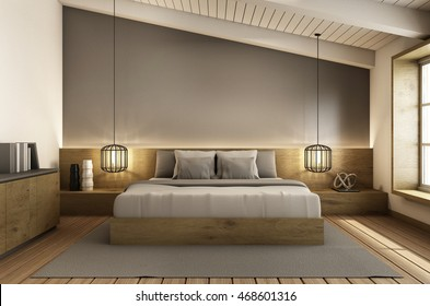 Bedroom under the roof interior design modern & loft - 3D render