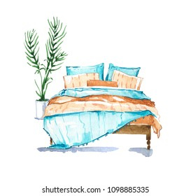 Bedroom, watercolour illustration