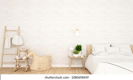 Bedroom and white brick wall decorate in home or apartment - Bedroom design for artwork kid room - 3D Rendering