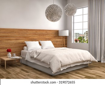 bedroom with wood trim. 3d illustration