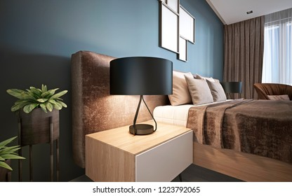 Bedside night table with a lamp in the modern bedroom. 3D rendering