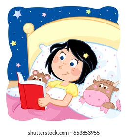 bedtime story - adorable little girl reading a bedtime story to her toys