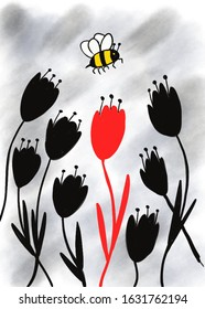 Bee attractions, red flower amongst the black flowers