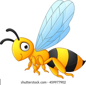 Bee cartoon flying