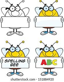 Bee Cartoon Mascot Characters. Set Raster Collection 4