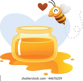Bee falling in love with honey
