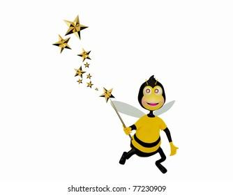 Bee holding a magic wand and making some magic stars