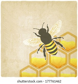 bee honeycomb old background -  illustration