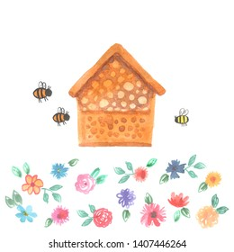 Bee hotel insect bumblebee bee bug house, wooden object produced to mimic the solitary bees natural breeding nests. Watercolor flowers leaves isolated on white. Applicable for Banners Poster