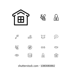 Bee icon with cat, doctor and cross tick symbols. Set of mortgage, eye, medical worker icons and opener concept. Editable  elements for logo app UI design.