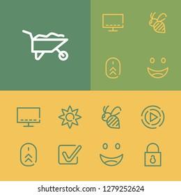 Bee icon with checkbox, play and smart tv symbols. Set of wheelbarrow, bug, check mark icons and padlock concept. Editable  elements for logo app UI design.