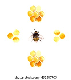 Bee surrounded by honeycomb elements painted in watercolor on white isolated background