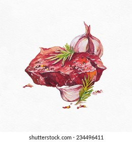 Beef Steak Meat with Vegetables. Watercolor illustration on white background.