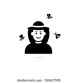 beekeeper or apiarist in hat. Apiary beekeeper  illustrations. Bee, honey, bee house, honeycomb natural healthy food production.