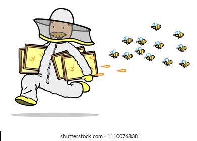Beekeepers with honeycombs run away from a swarm of bees