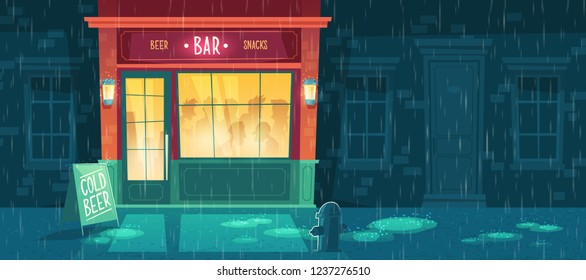 beer bar at night with people