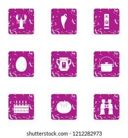 Beer biz icons set. Grunge set of 9 beer biz icons for web isolated on white background